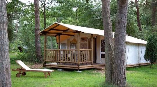 Glamping op vijfsterren vakantiepark De Beerze Bulten nabij Ommen in deze Sun Lodge voor vijf personen vakantiesvoorgrotegezinnen.nl