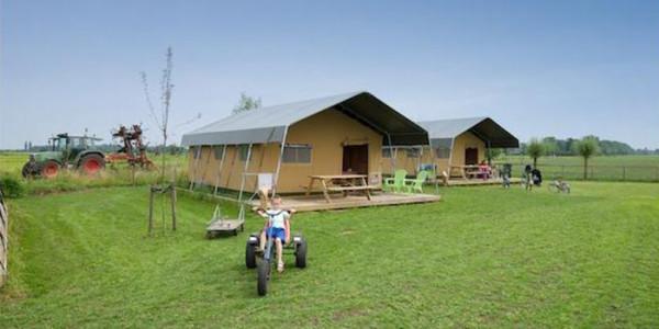 Luxe safaritent voor glamping op het platteland bij FarmCamps 't Oortjeshek in Kamerik. Voor grote gezinnen met 6 personen. vakantiesvoorgrotegezinnnen.nl